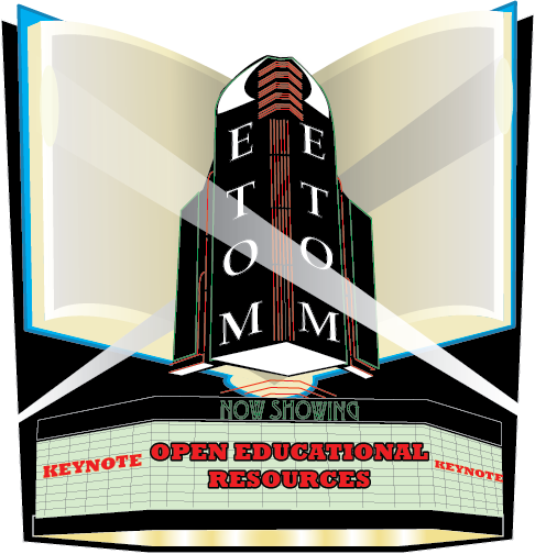 "Educational Technology Organization of Michigan (ETOM) Theater graphic. The running headliner is the keynote speech, titled ""Open Educational Resources"""